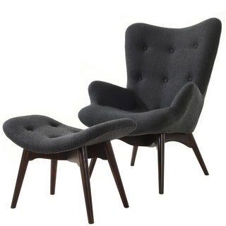 Poly and Bark Contour Lounge Chair and Ottoman in Grey