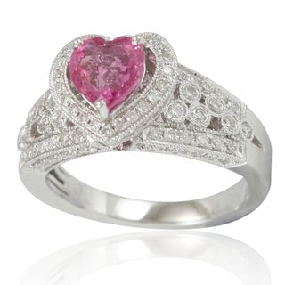 Suzy Levian 14K White Gold Pink Ceylon Sapphire Heart and Diamond Ring