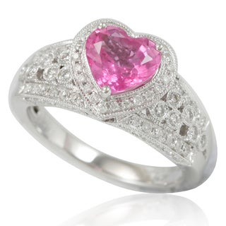 Suzy Levian 14K White Gold Pink Ceylon Sapphire and Diamond Ring