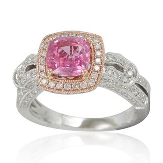 Suzy Levian 14K Two-Tone Gold Pink Ceylon Sapphire and Diamond Ring