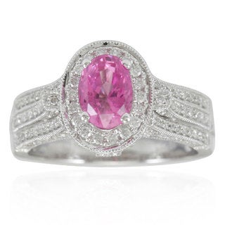 Suzy Levian 14K White Gold Pink Cylon Sapphire and Diamond Ring