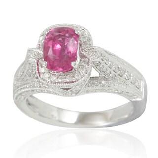 Suzy Levian 14K White Gold 2.43 TDW Pink Sapphire Diamond Ring