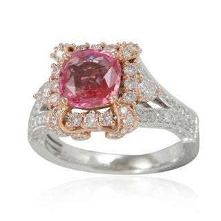 Suzy Levian 14K Two-Tone Gold 3.11TCW Pink Ceylon Sapphire Diamond Ring