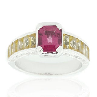 Suzy Levian 18K White Gold 4.00TCW Ruby, Yellow Sapphire and Diamond Ring