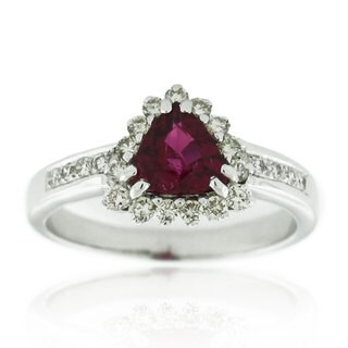 Suzy Levian 18K White Gold 1.5 TCW Trillion-Cut Ruby and Diamond Ring