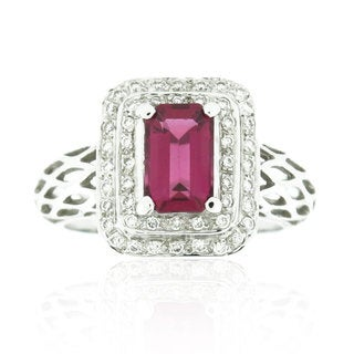 Suzy Levian 18K White Gold 2.2 TCW Ruby and Diamond Ring