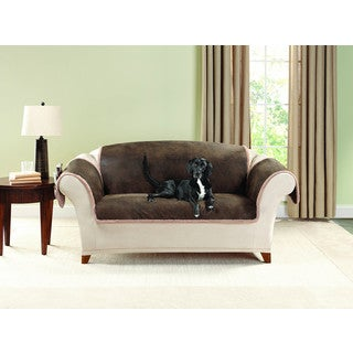 Sure Fit Soft Suede Taupe Waterproof Loveseat Protector