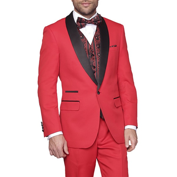 Statement Mens Capri-Red 3-Piece Tuxedo Suit