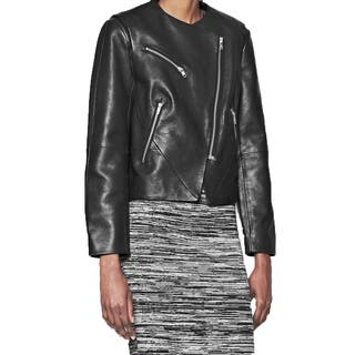 French Connection Women's Black Pebbled Leather Collarless Jacket|https://ak1.ostkcdn.com/images/products/10978019/P18000753.jpg?impolicy=medium