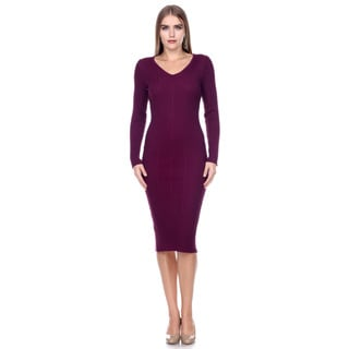 Stanzino Women's Long-Sleeve Ribbed V-Neck Knit Extra Stretch Sweater Dress