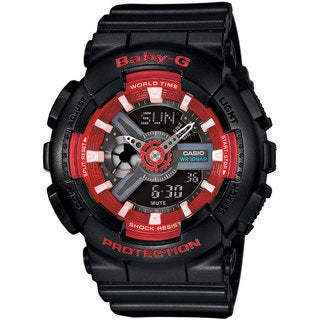 Casio Women's Baby-G BA110SN-1ACR Analog-Digital Black Resin Watch