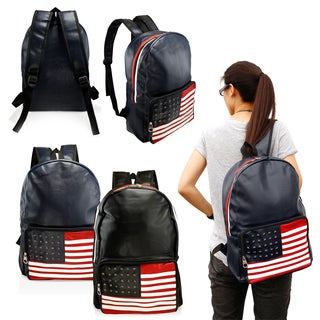 Gearonic Fashion Cute American Flag Women Girl Canvas School Backpack