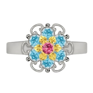 Lucia Costin Yellow Goldplated Sterling Silver Pink/ Light Blue Crystal Ring