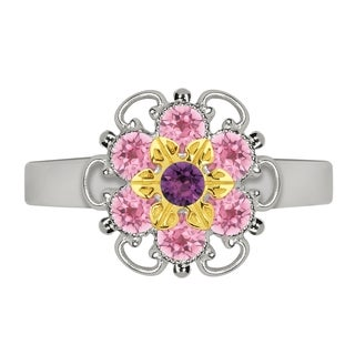 Lucia Costin Yellow Goldplated Sterling Silver Light Pink/ Violet Crystal Dot Ring