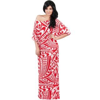 Koh Koh Women's One Shoulder Retro Graphic Print Maxi Dress