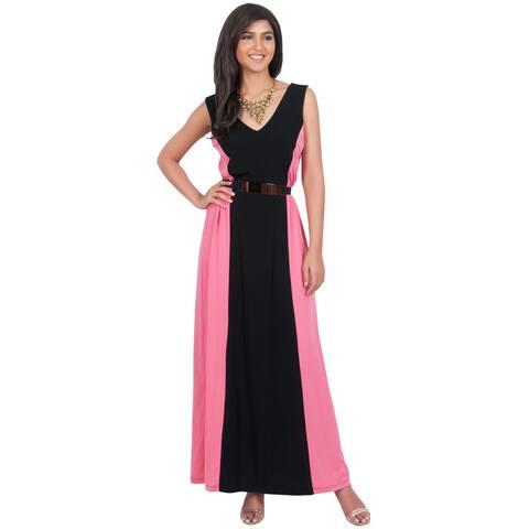 Koh Koh Women's Sleeveless Two-Toned Maxi Dress