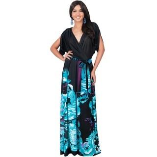 KOH KOH Women's Batwing Dolman Sleeve Floral Print Maxi Dress