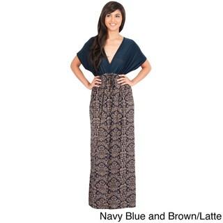 KOH KOH Women's Kimono Sleeve V-Neck Formal Maxi Dress