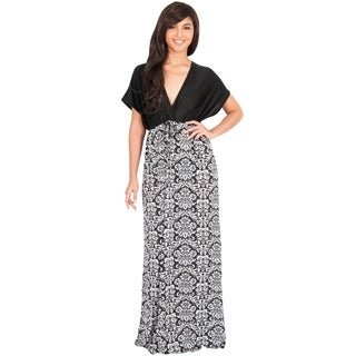 KOH KOH Women's Kimono Sleeve V-Neck Formal Maxi Dress