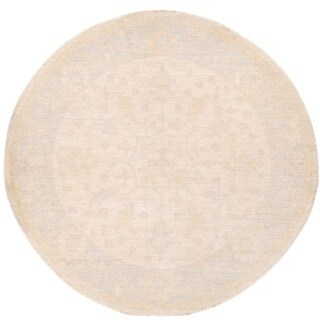 Herat Oriental Afghan Hand-knotted Vegetable Dye Oushak Ivory/ Light Blue Round Wool Rug (5'5 x 5'8)