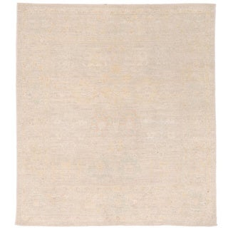Herat Oriental Afghan Hand-knotted Vegetable Dye Oushak Gray/ Ivory Wool Rug (4'11 x 5'1)