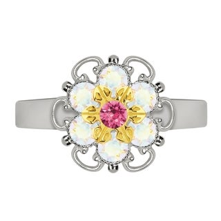 Lucia Costin Yellow Goldplated Sterling Silver Pink/ White Crystal Adjustable Ring