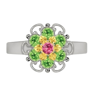 Lucia Costin Yellow Goldplated Sterling Silver Pink/ Light Green Crystal Flower Ring