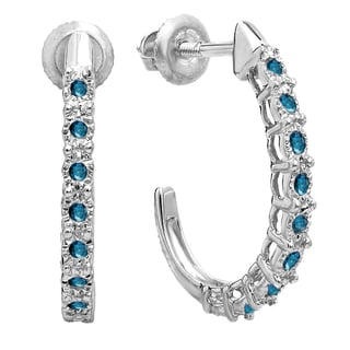 Elora Sterling Silver 1/4ct TDW Round Blue Diamond Hoop Earrings