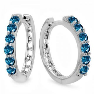 Elora 14k White Gold 1/3ct TDW Blue Diamond Leverback Hoop Earrings (I2-I3)