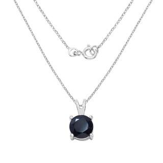 Sterling Silver 1 1/6ct TGW Black Sapphire Pendant