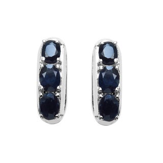 Sterling Silver 1 3/4ct TGW Blue Sapphire Earrings