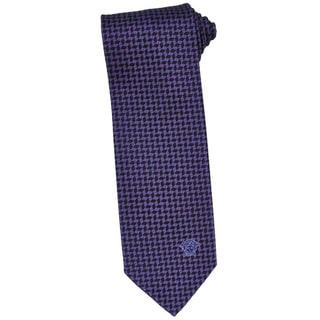 Versace 100-percent Italian Silk Purple/ Black Herringbone Neck Tie