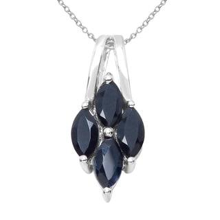 Sterling Silver 1 3/5ct TGW Black Sapphire Pendant