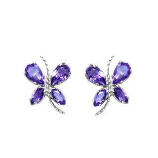 Sterling Silver 1 1/5ct TGW Amethyst Earrings