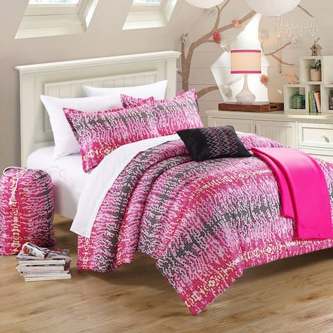 Chic Home Barbie Hot Pink and Black Reversible 5-Piece Comforter Set