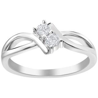 SummerRose 14k White Gold 1/5ct TDW Diamond Forever 2 Ring
