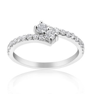 SummerRose 14k White Gold 1/2ct TDW Diamond 'Forever 2' Double Stone Ring