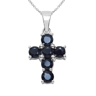 Sterling Silver 2 2/5ct TGW Black Sapphire Pendant