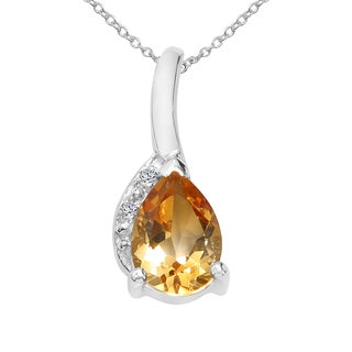 Sterling Silver 3/4ct TGW Citrine and White Topaz Pendant