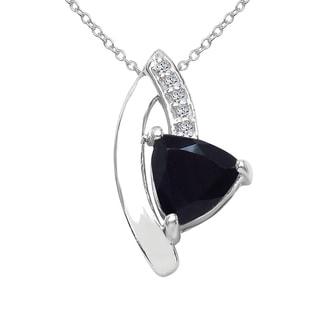 Sterling Silver 1ct TGW Black Sapphire and White Topaz Pendant