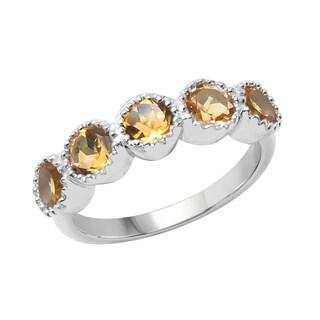 Sterling Silver 1 1/6ct TGW Citrine Ring