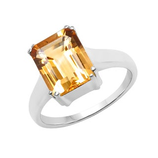 Sterling Silver 3 3/8ct TGW Citrine Ring