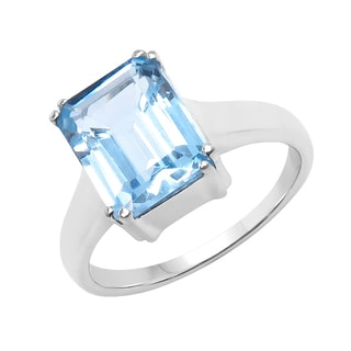 Sterling Silver 3 1/3ct TGW Blue Topaz Solitaire Ring