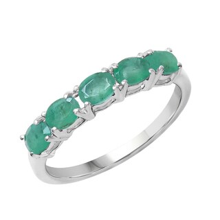 Sterling Silver 7/8ct TGW Emerald Ring