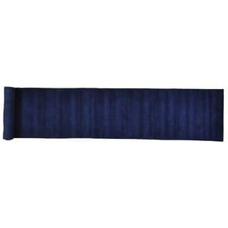 Navy Blue Loomed Gabbeh Wool Oriental XL Runner Rug (2'7 x 16'2)