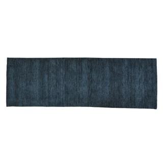 Charcoal Black Loomed Gabbeh Wool Modern Runner Rug (2'7 x 7'8)