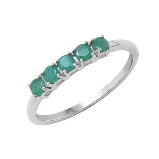 Sterling Silver 2/5ct TGW Emerald Ring