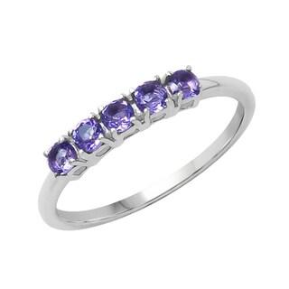 Sterling Silver 3/8ct TGW Amethyst Ring