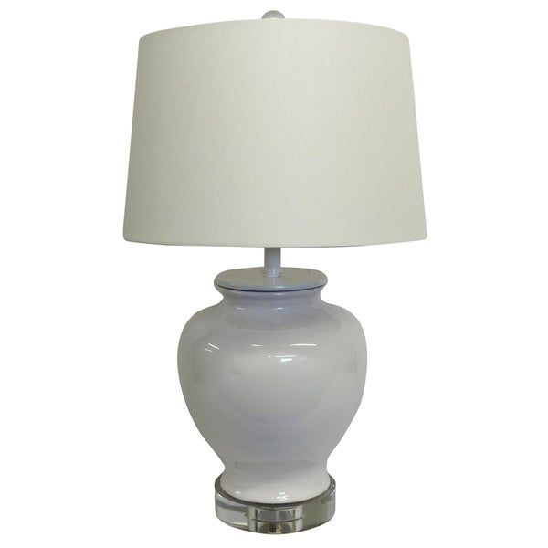 White Chic Porcelain Lamp White shade Crystal Base