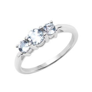 Sterling Silver 1/2ct TGW Aquamarine Ring